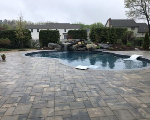 Poolscape, Patio, Natural Stone Waterfall